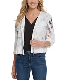 Cotton Crocheted Collarless Jacket