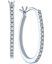 Diamond Oval Hoop Earrings (1/10 ct. t.w.) in Sterling Silver