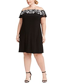 Plus Size Illusion Off-The-Shoulder Dress
