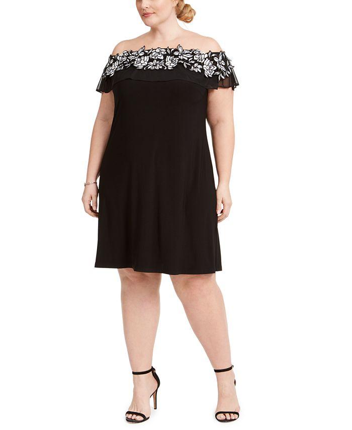 MSK - Plus Size Illusion Off-The-Shoulder Dress
