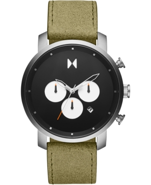 Mvmt Men's Chronograph Rugged Pack Green Leather Strap Watch 45mm