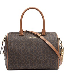 Signature Chained Barrel Leather Satchel
