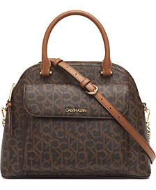 Signature Chained Dome Leather Satchel