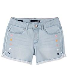 Big Girls Hearts Frayed Denim Shorts