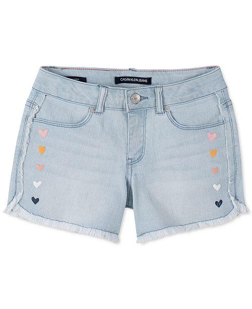 Calvin Klein Big Girls Hearts Frayed Denim Shorts