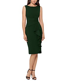 Petite Cascade-Ruffle Sheath Dress