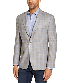 Men's Classic-Fit UltraFlex Light Brown & Blue Plaid Silk & Wool Sport Coat