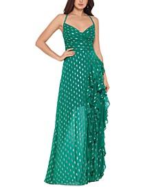 Metallic-Print Cascade-Ruffle Gown