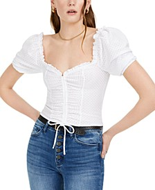 Eyelet Puff-Sleeve Top, Created For Macy's