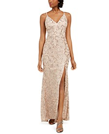 Petite Embroidered Lace Gown