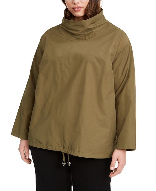 Eileen Fisher Plus Size Mock-Neck Pullover Coat