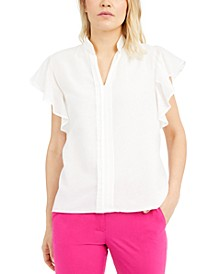 Pleated Flutter-Sleeve Top