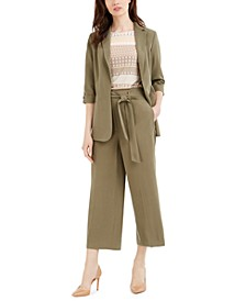 Open-Front Blazer, Printed Top & Tie-Belt Cropped Pants