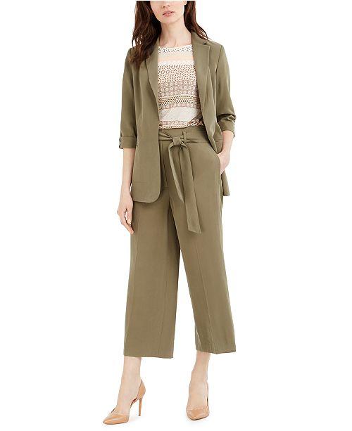 Calvin Klein Open-Front Blazer, Printed Top & Tie-Belt Cropped Pants