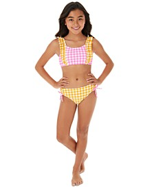 Big Girls 2-Pc. Gingham Ruffle-Strap Bikini