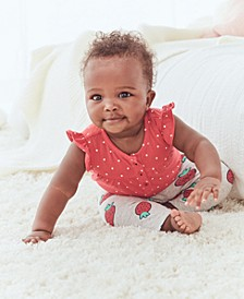 Baby Girls 2-Pc. Cotton Dot-Print Bodysuit & StrawberryPrint Pants Set