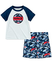 Toddler Boys 2-Pc. UPF 50+ T-Shirt and Swim Trunks