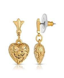14K Gold-Dipped Textured Heart Drop Earrings