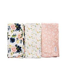 Baby Girls Pack of 3 Swaddle Blanket Set