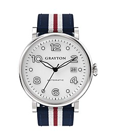 Men's Classic Collection Blue, White and Red 3 Colors Fabric Strap Watch 44mm