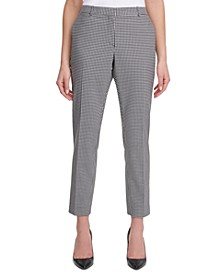 Gingham Slim-Straight Ankle Dress Pants