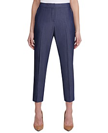 Sloane Slim-Straight Denim Ankle Dress Pants