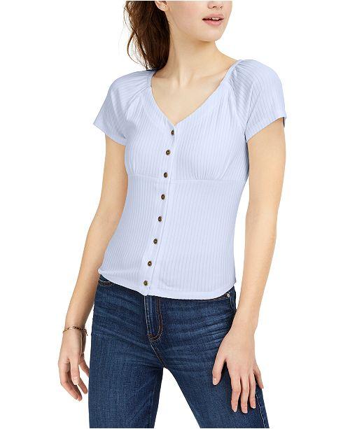 Ultra Flirt Juniors' Rib-Knit Button-Front Top