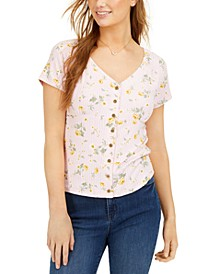 Juniors' Rib-Knit Button-Front Top