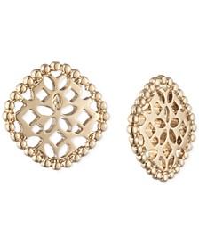 Gold-Tone Filigree Button Earrings