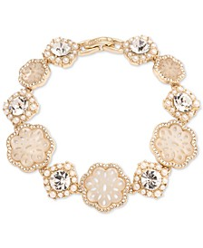 Gold-Tone Crystal & Mother-of-Pearl Lace Flex Bracelet