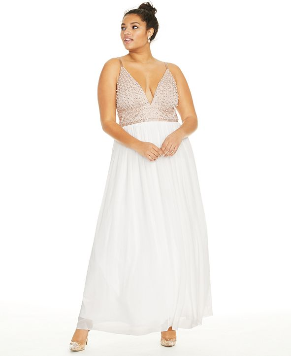 Say Yes to the Prom Trendy Plus Size Beaded Chiffon Gown