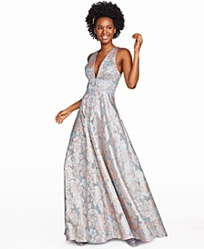 Juniors' Floral Jacquard Gown, Created for Macy's