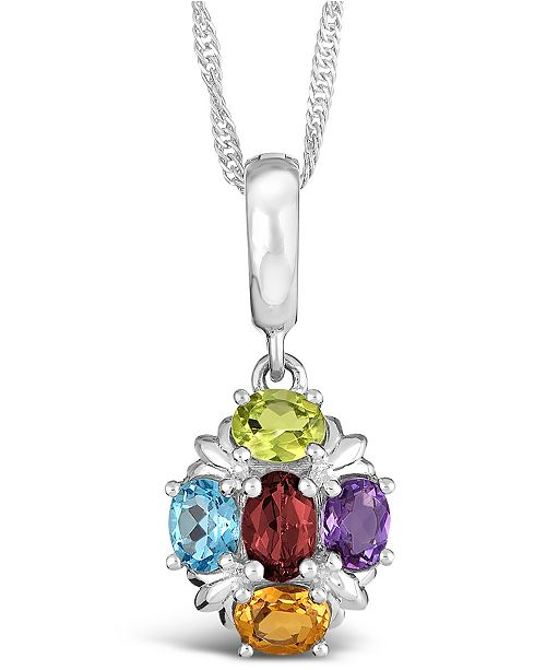 Macy's Multi-Gemstone (1-5/8 ct. t.w.) Pendant Necklace in Sterling Silver