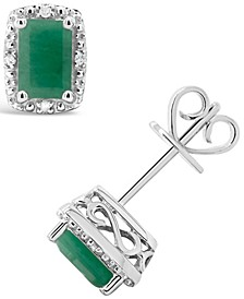 Emerald (1-1/3 ct. t.w.) and Diamond Accent Stud Earrings in Sterling Silver