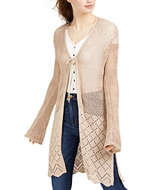 Juniors' Mixed Open-Knit Duster Cardigan