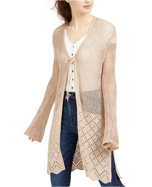 Ultra Flirt Juniors' Mixed Open-Knit Duster Cardigan