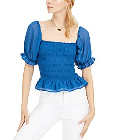 Smocked Puff-Sleeve Top