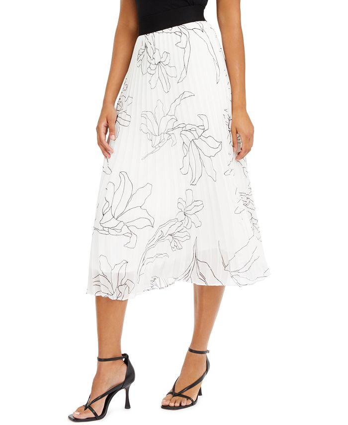 Alfani - Pleated Floral-Print Midi Skirt