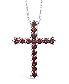 Gemstone Cross Pendant Necklace in Sterling Silver