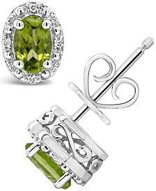 Gemstone and Diamond Accent Stud Earrings in Sterling Silver