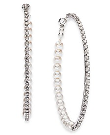 "Silver-Tone Large Crystal & Imitation Pearl Hoop Earrings, 2.75"", Created for Macy's"