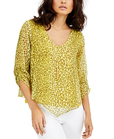 Thalia Sodi Printed Layered Ruched-Sleeve Necklace Top, Created for Macy's