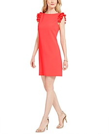 Ruffle-Sleeve Sheath Dress