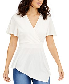 Asymmetrical Hem Surplice Top, Created for Macy's