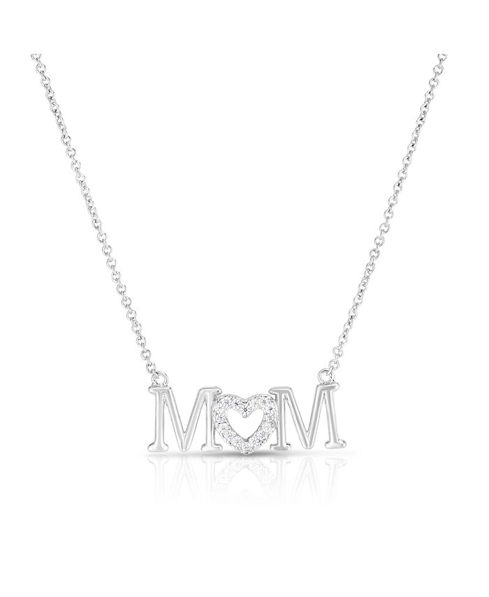 Macy's - Cubic Zirconia Mom Pendant In Fine Silver Plate