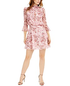 Printed Crossover Mock-Neck Dress