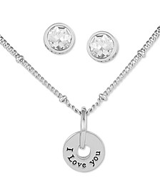 Silver-Tone I Love You Pendant Necklace & Crystal Stud Earrings Set