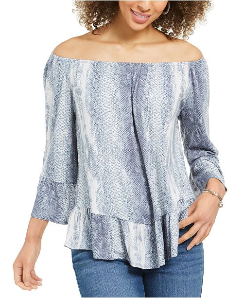 Style & Co Snake-Print On/Off-The-Shoulder Top, Created for Macy's