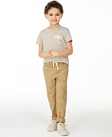 Little Boys Camo Pocket V-Neck T-Shirt & Stretch Twill Moto Chino Pants, Created for Macy's