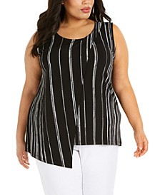 Plus Size Printed Asymmetrical Cross Top, Created for Macy's